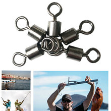 50pcs High Quality Fishing Swivels Ball Bearing Rolling Swivel Solid Rings Ocean Boat River Fishing Hook Connector Accessories