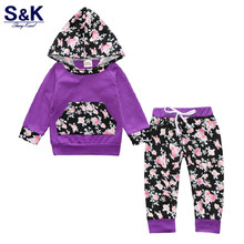 Newborn baby girl clothes baby boy newborn hooded t-shirt top+pants 2 pcs clothes for babies bebe kids clothing Xy-244(China)