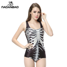 New Arrival Beach Wear Sexy Backless Women Swimwear Black White Skull Skeleton Printed Bathing Suit One Piece Swimsuit CYQ1136(China)