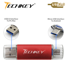 new TECHKEY OTG usb 3.0 32gb usb flash drive 3.0 64gb pen drive 16gb memoria cel usb stick pendrive gift for samsung mobile(China)