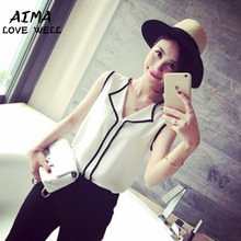 2017 Fashion Women Summer Top Sexy Casual Sleeveless Chiffon Blouse Loose Tops Female Stripes Shirts Feminina Top Tee camisa