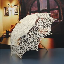 Wedding Umbrella Lace Parasol Umbrella for Decoration Bridal Vintage Lace Umbrella Beige Ivory White Princess Gift