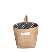 lunch Box Bucket Storage bag Polka Dot Small Storage Sack Cloth Hanging Non Woven Storage Basket with Handle 2017 Fashion