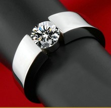 Fashion Jewelry Men Gem 5A Zircon stone 925 Sterling silver Engagement Wedding Band Ring US Size 5-10 Gift Free shipping