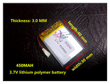 Free shipping China supplier shenzhen factory OEM 303040 3.7v lipo battery 450mah for rc MP3 MP4(China)