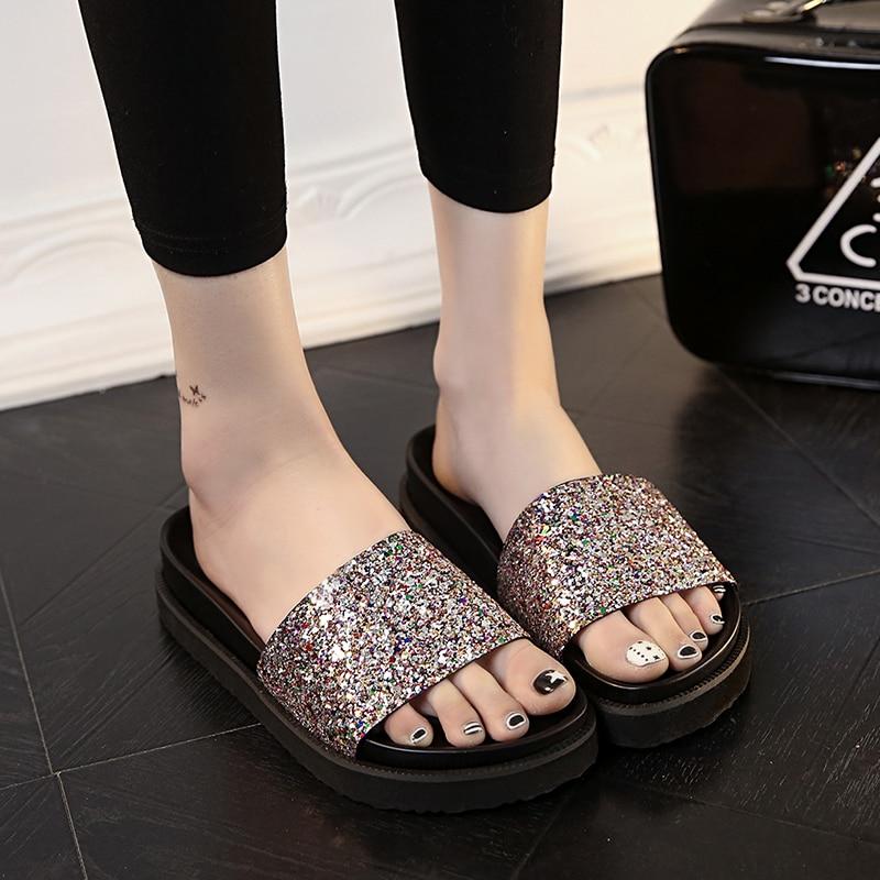 2017 Platform Slippers Summer Style Women Beach Shoes Woman Open Toe Glitter Sandals Sandalias Mujer Zapatos Flip Flops<br><br>Aliexpress
