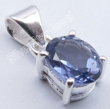 Chanti International Solid Silver IOLITE Charming 4 Prong Pendant 1.8CM Lightweight Fancy Jewelry