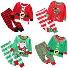 New Year Christmas Pajamas Sets Kids Santa Elk Striped Clothes for Xmas Boys  Pyjamas Pijamas Kids 5e526162b
