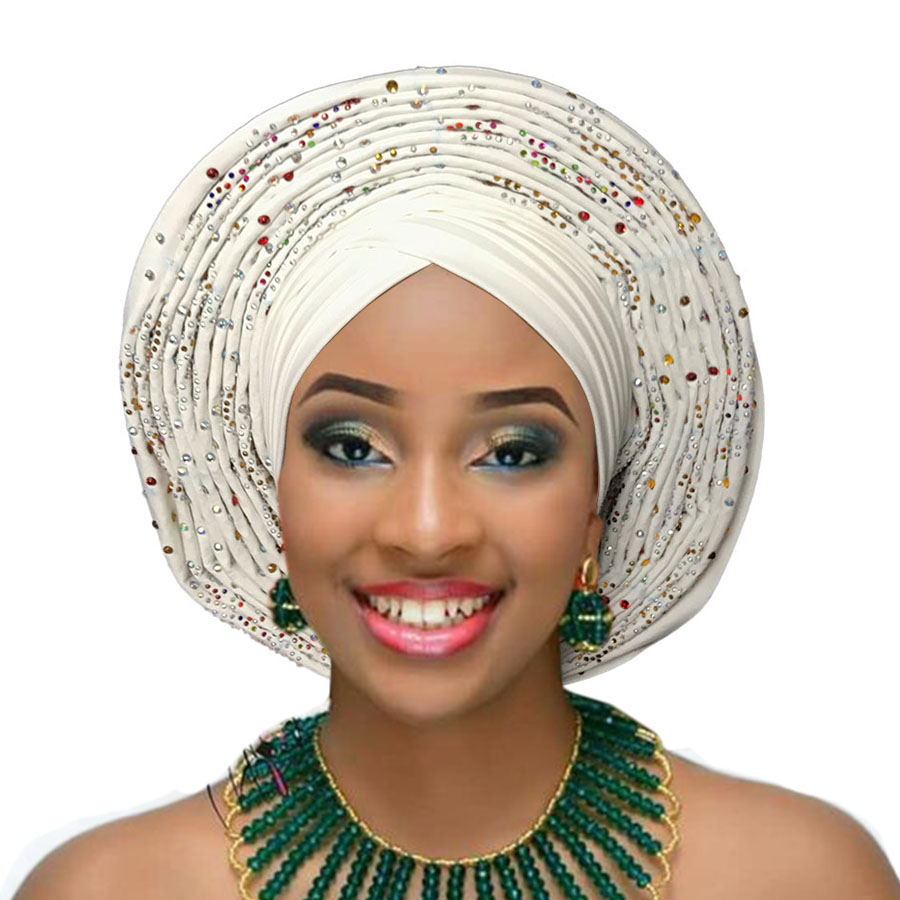 2018 Nigerian gele headtie already made auto hele turban cap african aso ebi gele aso oke headtie big brim (7)