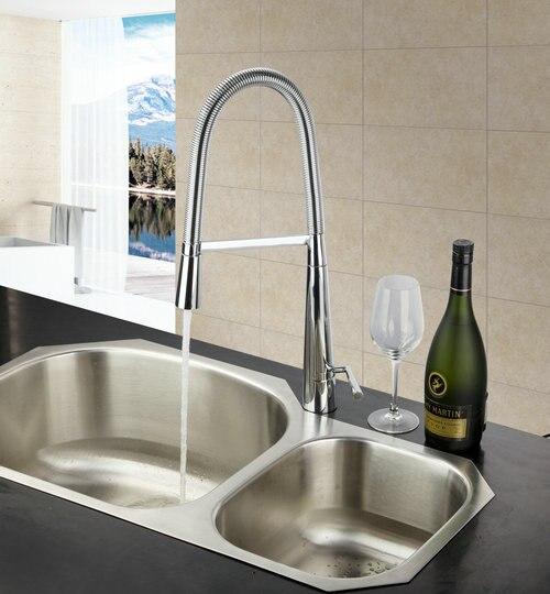 Double Handles 8554 Chrome Brass Kitchen Faucet Pull Out Vessel Sink Mixer Tap Swivel Spout Kitchen Torneira Cozinha Deck Mount<br><br>Aliexpress