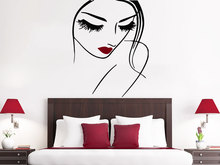 Sexy Lady Face Make Up Wall Decals Beaty Salon Girl With Pretty Lips Wall Stickers Home Fashion Style Decor Walll Mural Wm-065(China)