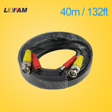 LOFAM 40m 132Feet CCTV BNC DC Plug Cable for CCTV Camera Coaxial Video Power Cable for Surveillance camera DVR System Kit