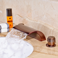 Wholesale and Retail Countertop Bathroom Sink Faucet Widespread 3pcs Vessel Sink Faucet Oil Rubbed Bronze(China)