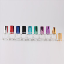 Fashion 10 Colors 5 ml Mini Empty Glass Unique Heart Shape Refillable Perfume Bottle Empty Spray Glass Bottle Multicolored