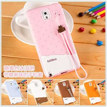 Korea wind ice cream Silicone Case for Samsung Galaxy NOTE 3 soft ice cover skin Phone With Phone pendant free deliveryl