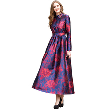 Spring Turn Down Collar Formal Jacquard Evening Party Dresses Night Dresses Pretty Women Elegant Long Sleeves DL1056(China)