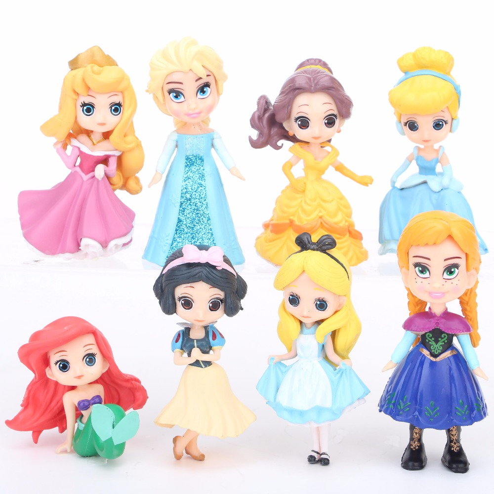 8//11Pcs Disney Princess Cinderella Ariel Snow White Figure Toy Cake Topper Doll