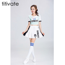 TITIVATE Sexy High School Girls Cheerleading Costume Short Sleeves Cheerleader Uniform Lady Halloween Costume Top+Skirt S-2XL