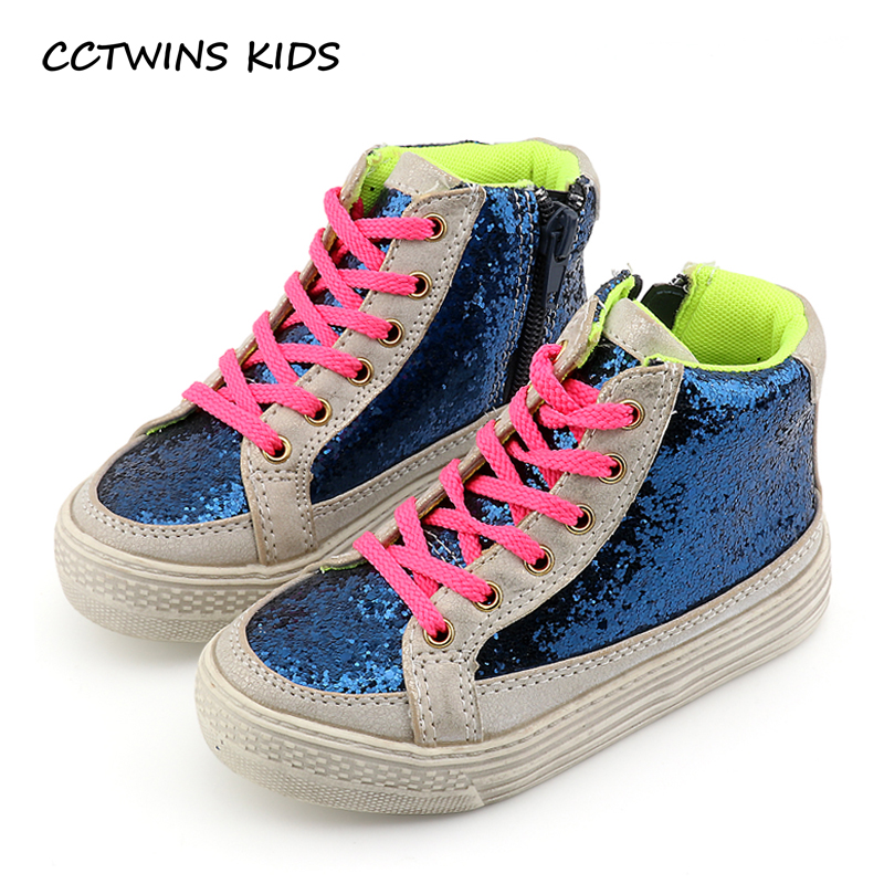 CCTWINS KIDS 2017 Toddler Fashion Glitter Shoe Baby Girl Kid High Top Flat Children Breathable Sequins Pink Sport Trainer F001