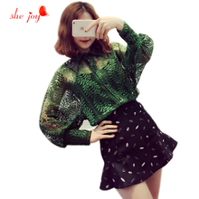 Casual Fashion Women Hollow Out Lace Blouse Spring Summer Long Sleeve Shirt + Insert Camis 2pcs Tops Clothings Femlae 2017