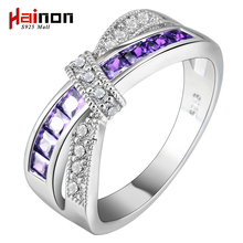 cross finger ring for lady paved cz zircon luxury hot Princess women Wedding Engagement Ring purple pink color jewelry(China)