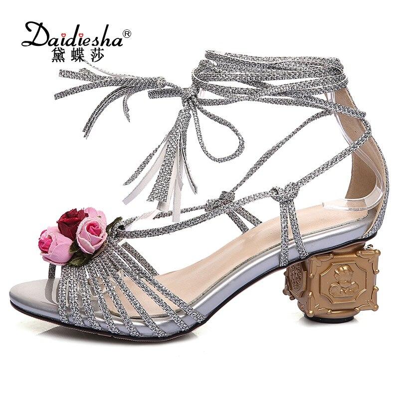 Daidiesha Italian Women Retro Flower Cross-tied High Heel Shoes Fancy Strange Style Heel Sandals Luxurious Party Wedding Pumps<br>