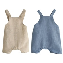 Baby Boy Girl Cotton&Linen Romper Solid Color Suspender Overalls Infant Jumpsuit Baby Clothes Blue Beige