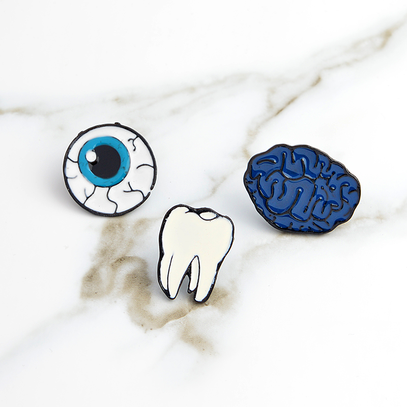 Badges New Metal Teeth Badge Golden Silver Dentist Gift Decoration Backpack Shirt Denim Jacket Brooch Accessories Jewelry Craft Home & Garden