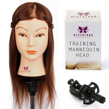"US UK Stock Hairtstyle Doll 16"" Brown Real Hair Training Head Hairdressing Cut Braiding for Salon Practice with Clamp Mannequin(China)"