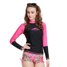 UV Protection Women's Compression Long Sleeve Rash Guard  Top  Sportswear Rashguard Swimwear Top Shirt