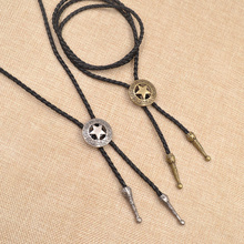 Qlychee New American Neck Vintage Knitted Cowboy Star Bolo Tie Hollow Bola Tie Fashion Jewelry(China)