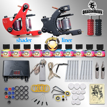 Beginner Tattoo Starter Kits 2 Guns Machines 10 Ink Sets Power Supply Disposable Needle Pedal Tips D1015NS Top U.S.A Tattoo Ink(China)