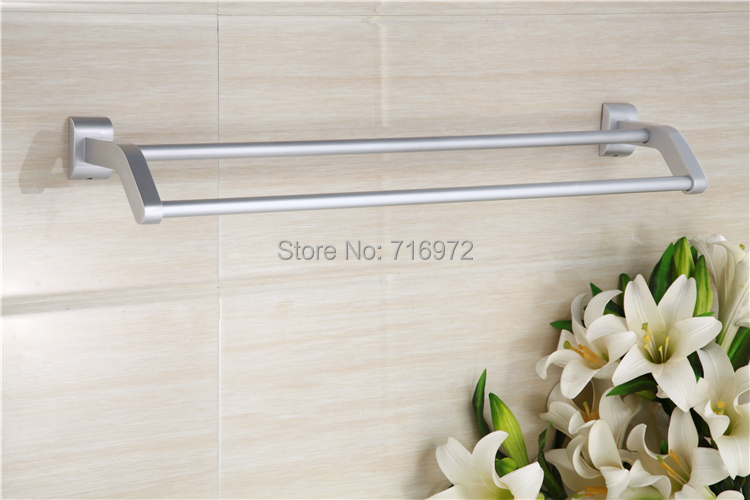 Free Shipping Wall Mounted Space Aluminium Double Towel Bars,Towel Rail, Towel Holder,Bathroom Accessories-Wholesale-5525<br><br>Aliexpress