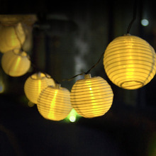 Solar Powered 4.8M 20pcs Big Lantern Ball String Lights Fairy String Garlands For Holiday Wedding Yard Patio Christmas Garden