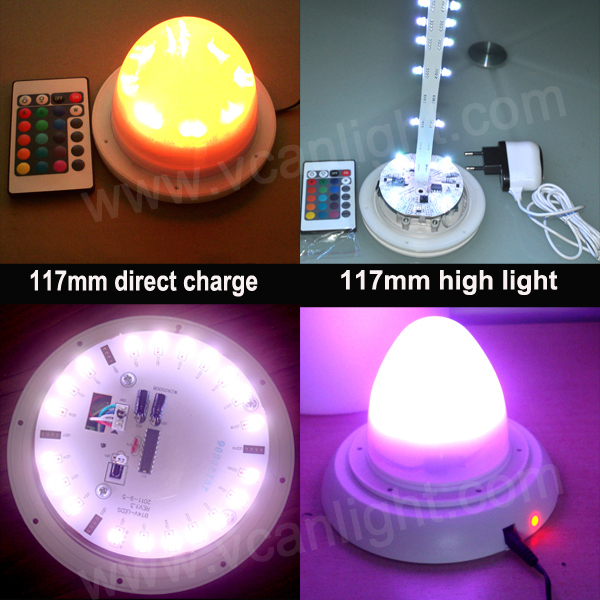 10PCS DHL Free Shipping Factory 38LEDS RGBW Wedding Decoration Remote Control Multi-color Led Base Lights For Vases<br>