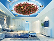 Custom photo 3d ceiling murals wallpaper home decor painting Red flower butterfly sky 3d wall murals wallpaper for living room