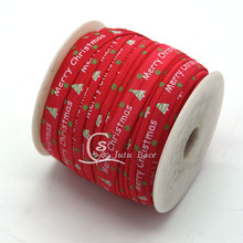 50yds/ lot Christmas trees printed Headbands Fold Over Elastic wholesale flexible hairbands in GOOD QUALITY