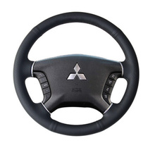 Black Leather Hand-stitched Car Steering Wheel Cover for Mitsubishi Pajero 2007-2014 Galant 2008-2012