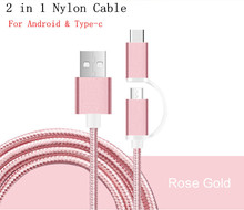 New Android USB Cable Top Sale Braided 2 in 1 Stylus Cables USB Type-c & Micro Cable Charger For Samsung XIAOMI HUAWEI Lenovo
