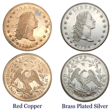 United States Early Silver Dollars 1794 Flowing Hair Dollars Brass Plated Silver replica coins