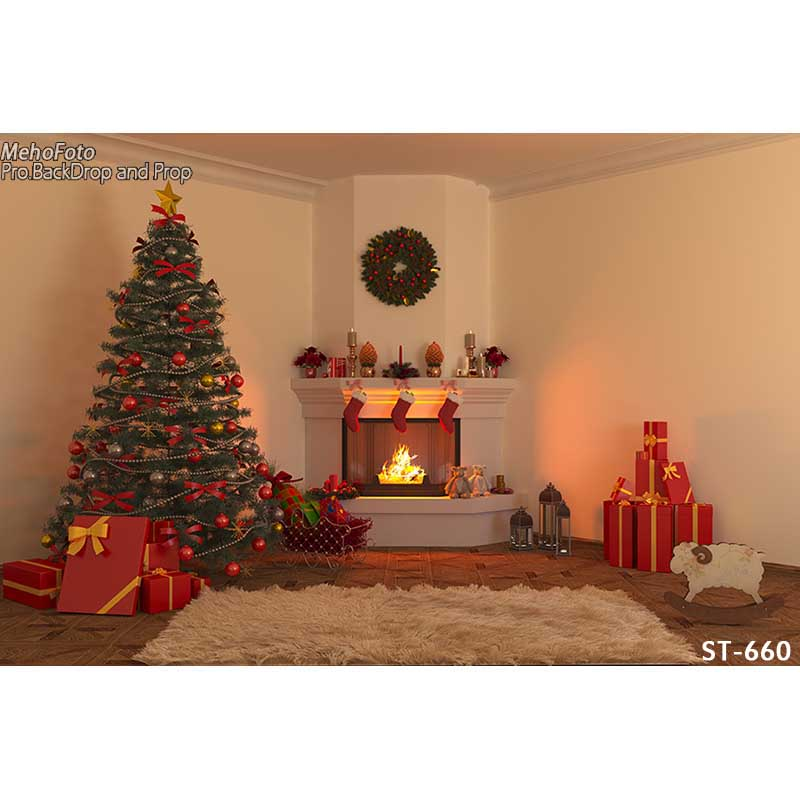 Horizontal vinyl print 3D warm Xmas decoration fireplace room photography backdrops for photo studio portrait backgrounds ST-660<br>