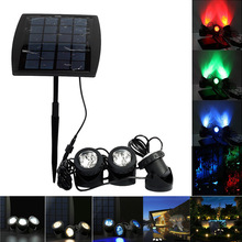 Solar Spotlight RGB 18 LED Landscape Projection Outdoor Security Night Light Adjustable Lighting Angle for Garden Pool L --M25