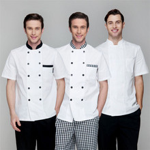 Wholesale Retail Checkedout Custom Logo Solid Chef Uniform Men Polyester Cotton Waiters Uniforms S-3XL Free Shipping