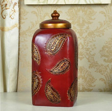 Household 30.5CM Red Resin Storage Can Jar With Leaf Pattern Home Decoration Cinnabar Ornaments Art Craft In Three Color(China)
