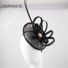 Black or multiple color fascinator base with ostrich quill adorned hat party hairclip cocktail headwear wedding hair accessories(China)