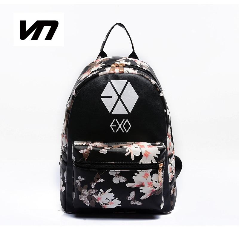 2017 Korean Summer New Fashion Butterfly Flower Backpacks For Teenager EXO Bigbang GD MADE TOP BTS Backpacks For Girl School Bag<br><br>Aliexpress