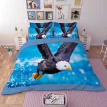 Free shipping holiday gift flying eagle pattern blue bedding Quilt duvet Cover+2 pillow case set for Twin full Queen King(China)