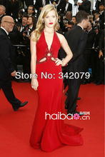 ph11962 Georgia May Jagger Cannes 2013 halter red chiffon dress with long train celebrity dresses 2013