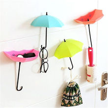 3Pc/lot  Creative Umbrella Wall Hook Keys  Mini Hook Hanger Glass Necklace Adhesive  Wall Holder Hooks Room Decoration