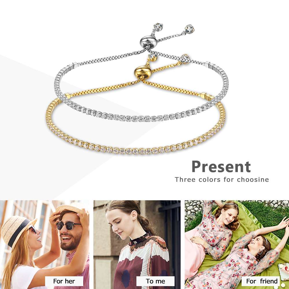 Party Jewelry Adjustable Bracelet For Women 2mm Cubic Zirconia Gold Color Blacelets & Bangles Gift For Her (JewelOra BA101437) 4